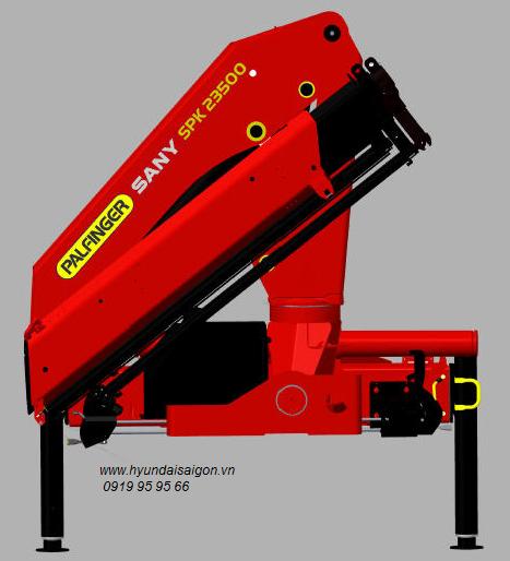Xe tải 4 chân hyundai gắn cẩu gập 10 tấn Palfinger