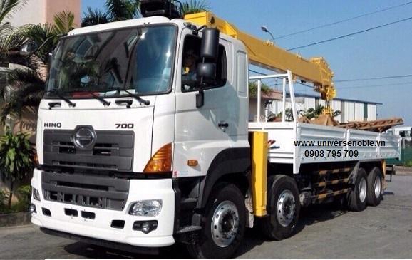 Xe tải Hino 4 chân FY gắn cẩu Kanglim 15 tấn 6 khúc KS5206