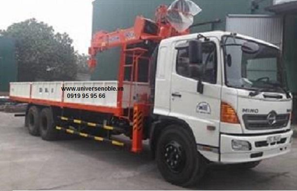Xe tải Hino FL 16 tấn 3 chân gắn cẩu Kanglim 5 tấn 6 khúc Ks1056